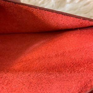 Vintage Bags - VTG Red Leather Envelope Passport Wallet Clutch